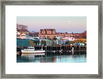 Supermoon Over Shapleigh Island Portsmouth Framed Print by Eric Gendron