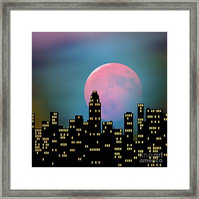 Supermoon Over The City Framed Print