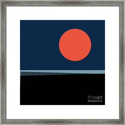 Framed Print featuring the digital art Supermoon Over The Sea by Klara Acel