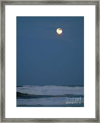 Supermoon Over The Surf Framed Print by D Hackett