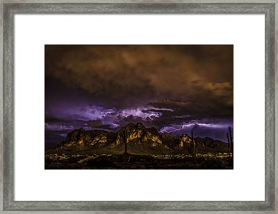 Superstition Lightning Framed Print by Chuck Brown