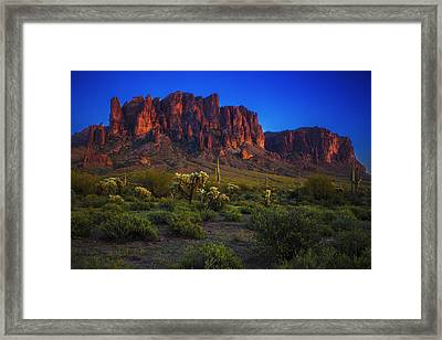 Superstition Mountain Sunset Framed Print