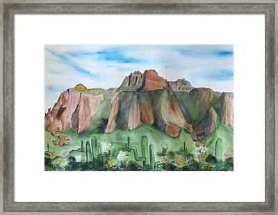 Superstition Mountain Framed Print by Vivian Larson