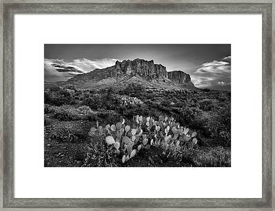 Framed Print featuring the photograph Superstition Mountains In Black And White by Dave Dilli