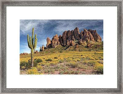 Framed Print featuring the photograph Superstition Mountains Saguaro by James Eddy