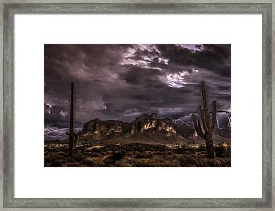 Superstition Storm Framed Print by Chuck Brown