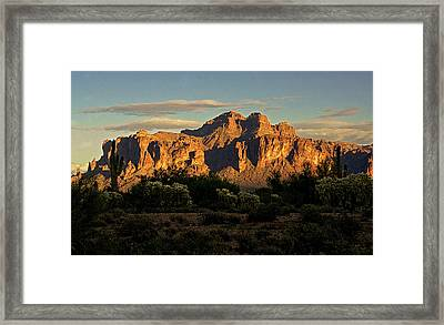 Superstitions At Sunset  Framed Print