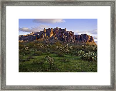 Superstitions Mountains On Green Framed Print