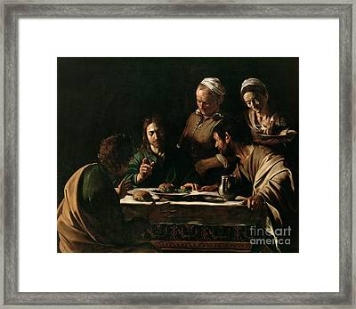 Supper At Emmaus Framed Print by Michelangelo Merisi da Caravaggio