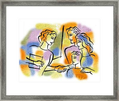 Framed Print featuring the painting Support And Family Assistance by Leon Zernitsky