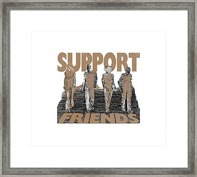 Framed Print featuring the digital art Support Friends by Lance Sheridan-Peel
