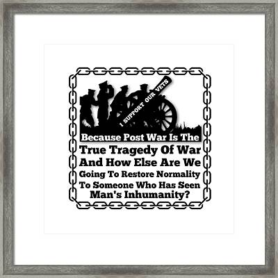 Support Our Vets Framed Print by Firsttees Motivational Artwork