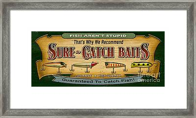 Sure Catch Baits Sign Framed Print