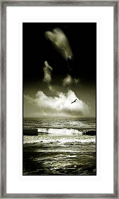 Surf And Sky At Rhos On Sea North Wales Framed Print
