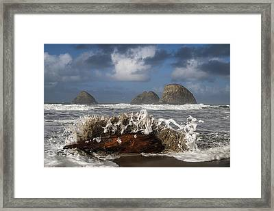 Surf And Three Arch Rocks Framed Print