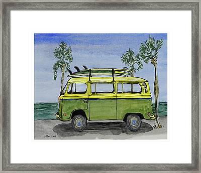 Surf Art Vw Bus And Long Boards  Framed Print