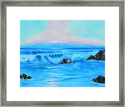 Surf At Sunset  Framed Print