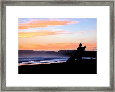 Surf At Sunset Framed Print