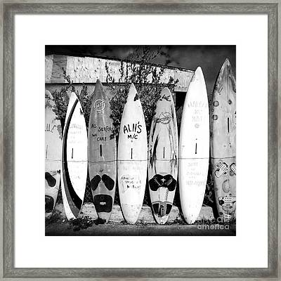 Framed Print featuring the photograph Surf Board Fence Maui Hawaii Square Format by Edward Fielding
