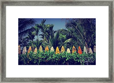 Framed Print featuring the photograph Surf Board Fence Maui Hawaii Vintage by Edward Fielding