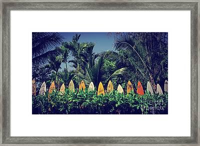 Surf Board Fence Maui Hawaii Vintage Framed Print