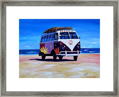 Surf Bus Series - The Groovy Peace Vw Bus Framed Print by M Bleichner