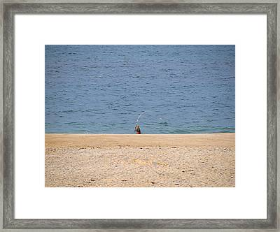 Framed Print featuring the photograph Surf Caster by  Newwwman