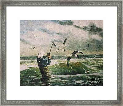 Surf Casting For Striped Bass At Gull Rock Framed Print