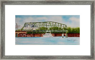 Surf City, Nc Swing Bridge Framed Print by Cassie Duval
