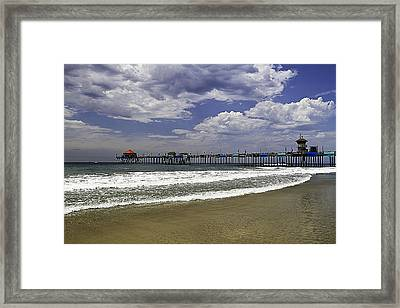 Framed Print featuring the photograph Surf City Pier by Ron Dubin