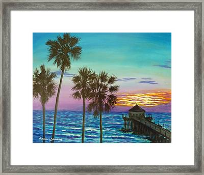 Framed Print featuring the painting Surf City Sunset by Amelie Simmons