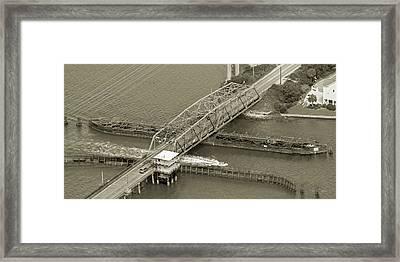 Surf City Swing Bridge Sepia Framed Print