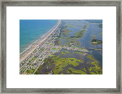 Surf City Topsail Island Aerial Framed Print by Betsy Knapp