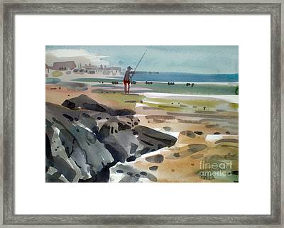 Surf Fishing At Belmar Framed Print