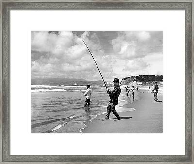 Surf Fishing At Ocean Beach Framed Print