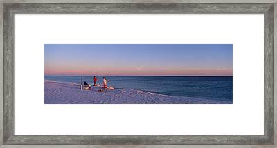 Surf Fishing At Santa Rosa Island Framed Print by Panoramic Images