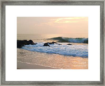 Surf In Peachy Ocean Grove Sunrise Framed Print by Anna Lisa Yoder