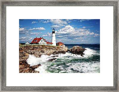 Framed Print featuring the photograph Surf Meets Land by Scott Kemper