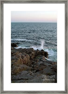 Surf On Rocks Framed Print by Georgia Sheron