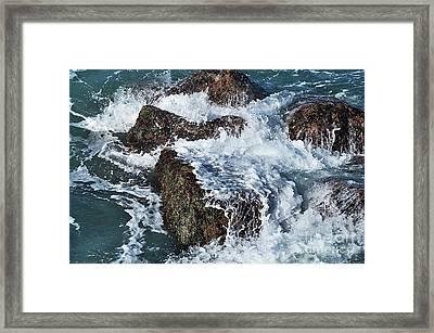 Surf On The Rocks Framed Print by Kaye Menner