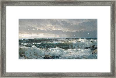 Surf On The Rocks Framed Print