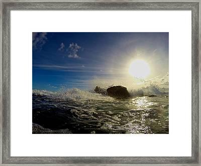 Surf Setting Sun Framed Print by Steven Lapkin
