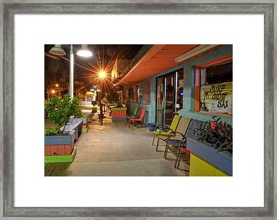 Surf Side Bar At Night Framed Print
