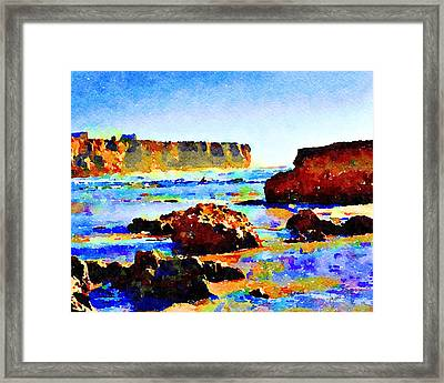 Framed Print featuring the painting Surf The Headlands by Angela Treat Lyon