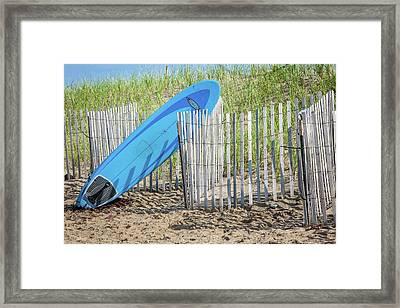 Surfboard And Sandals Framed Print