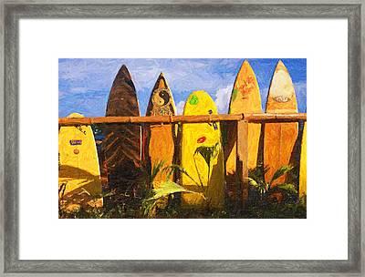Surfboard Garden Framed Print