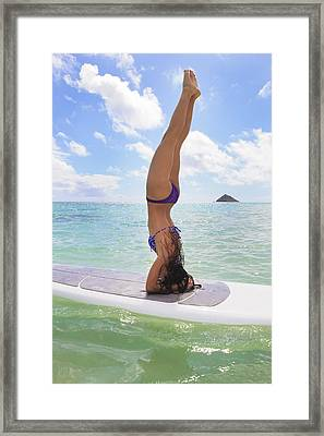 Surfboard Headstand Framed Print by Tomas del Amo - Printscapes