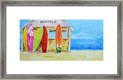 Surf Board Rental Shack At The Beach - Modern Impressionist Palette Knife Work Framed Print