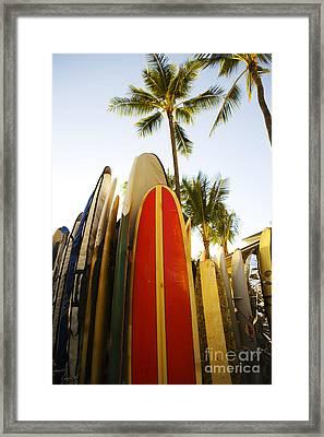 Surfboards At Waikiki Framed Print by Dana Edmunds - Printscapes