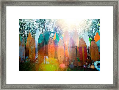 Surfboards Sun Flare Framed Print by Monica and Michael Sweet